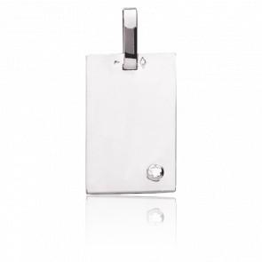 Plaque à graver rectangle, Or blanc 18K & diamant - Emanessence