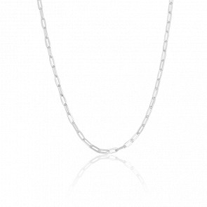 Chaine Maille Rectangle, Argent, Largeur 3 mm - Manillon