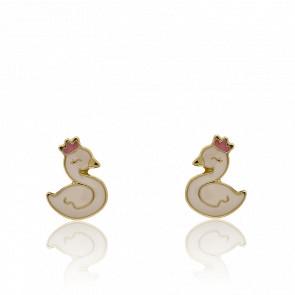 Boucles d'oreilles Cygne, Or Jaune 18K & Laque - Bambins