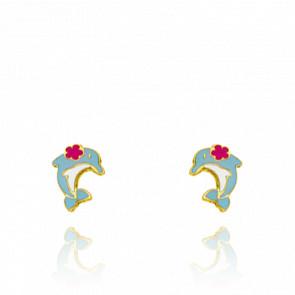 Boucles d'oreilles Dauphin, Or Jaune 18K & Email - Bambins