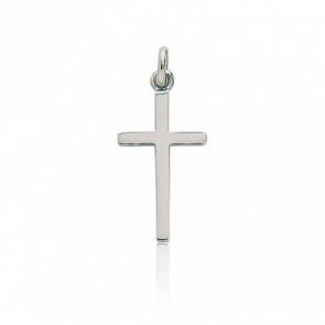 Croix Plate Polie Or Blanc 18K