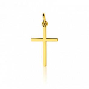 Croix fil carré, Or jaune 18K - Emanessence