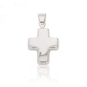 Croix épaisse en relief, Or blanc 18 carats - Emanessence