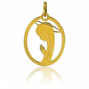 Médaille Vierge en prière, ajourée, Or jaune 18K - Augis
