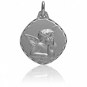 Médaille Ange Raphaël, losange, Or blanc 18K - Augis