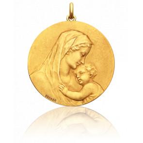 Médaille Vierge Maternité ronde, Or jaune 18K - Becker