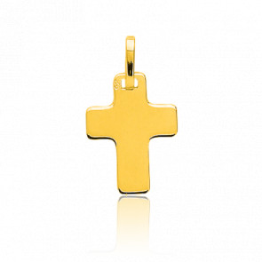 Pendentif croix plate, Or jaune 18 carats - Emanessence