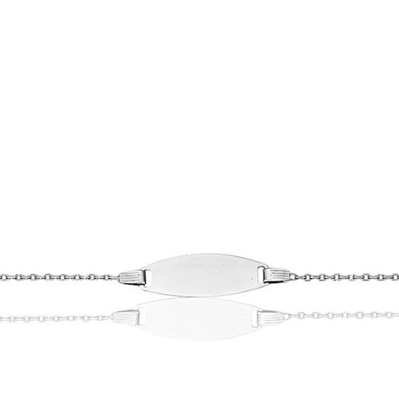 Gourmette bébé maille diamantée, Or blanc 18K - Bambins