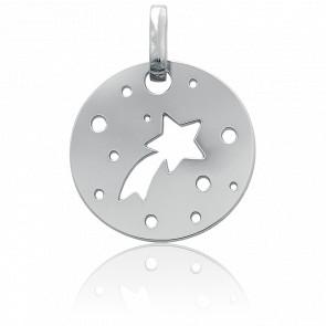 Médaille étoile filante, Or blanc 18 carats - Bambins