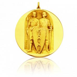 Médaille signe du zodiaque gémeaux, Or jaune 18K - Becker