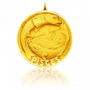 Médaille signe du zodiaque poisson, Or jaune 18K - Becker