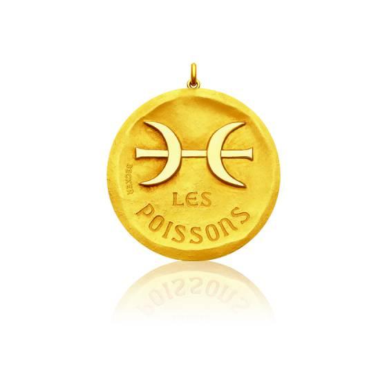 Pendentif Signe Astrologique Poisson, Or jaune 18K - Becker