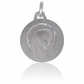 Médaille Vierge Auréolée, Or blanc 18K - Augis