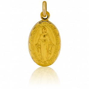 Médaille Miraculeuse, bord fleuri, Or jaune 9K - Pichard-Balme