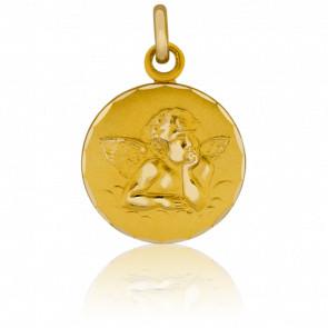 Médaille Ange Raphaël, bord guilloché, Or jaune 9K - Pichard-Balme
