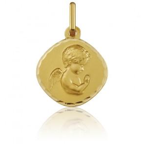 Médaille Ange en Prière ovale, facettée, Or jaune 18K - Argyor