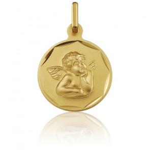 Médaille Ange Raphaël, bord guilloché, Or jaune 18K - Argyor