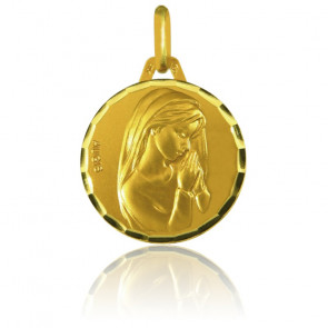 Médaille Vierge mains jointes, facettée, Or jaune 18K - Augis