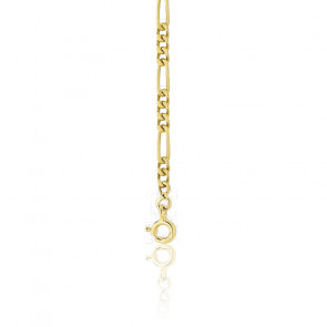 Chaine cheval alternée triple massive - Or jaune 18K - 50 cm